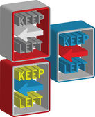 3d Keep left sign — Vettoriale Stock