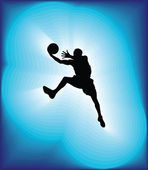 Basketball player in action. Vector illustration — Stock Vector