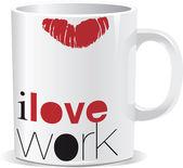 I love work mug — Stock Vector
