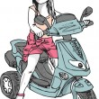 Royalty-Free Stock 矢量图片: Sketch of little girl driving a Motorcicle. Vector illustration