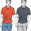 Stok Vektör: Sketch of fashion handsome man. Vector illustration