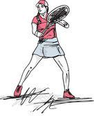 Croqui de jogar ténis mulher. ilustração vetorial — Vetorial Stock