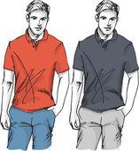 Schets van mode knappe man. vectorillustratie — Stockvector