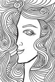 Abstract sketch of woman face. Vector illustration. — Stock Vector