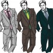 Sketch of fashion handsome man. Vector illustration — Imagens vectoriais em stock