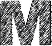 Czcionki rysować ręka. literę m — Wektor stockowy