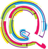 Colorful Grunge LETTER Q — Stock Vector