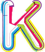 Grunge coloridas letra k — Vector de stock