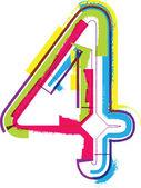 Número de grunge coloridas 4 — Vector de stock