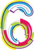 Número de grunge coloridas 6 — Vector de stock