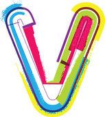 Colorful Grunge LETTER v — Stock Vector