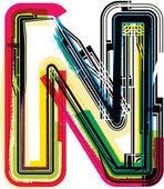 Grunge coloridas letra n — Vector de stock