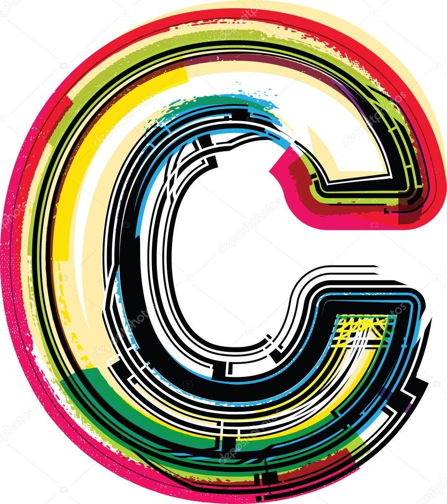 colorful grunge letter c  u2014 stock vector  u00a9 aroas  28654953