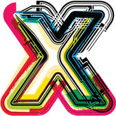 Barevné grunge písmeno x — Stock vektor