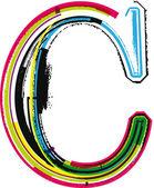 Colorato grunge lettera c — Vettoriale Stock