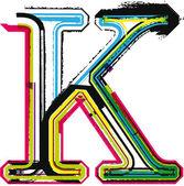 Colorful Grunge LETTER K — Vector de stock