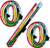 Simbolo di percentuale grunge colorato — Vettoriale Stock