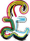 Renkli grunge lirası simgesi — Stok Vektör