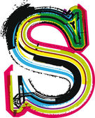 Colorful Grunge LETTER s — Stock Vector