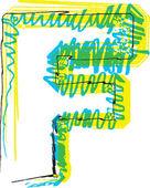 手描きフォントです。手紙 f — ストックベクタ