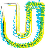 Hand draw font. LETTER U — Stock Vector