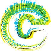 Hand getrokken lettertype. alfabet c — Stockvector