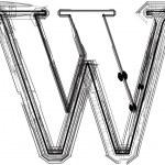 Technological font. LETTER W — Stock Vector