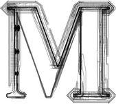 Technological font. LETTER M — Stock Vector