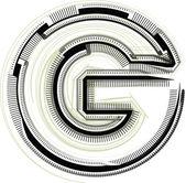 Tekniska teckensnitt. bokstaven g — Stockvektor