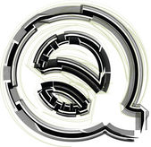 Technological font. LETTER Q — Stock Vector