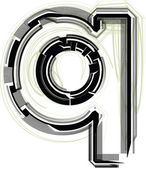 Technologické písmo. písmeno q — Stock vektor
