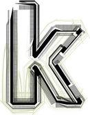 Polices technologique. lettre k — Vecteur
