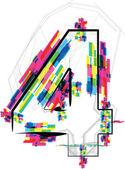 Font Illustration. Number 4. Vector illustration — Stock Vector
