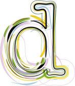 Organic Font illustration. Letter d — Stock Vector
