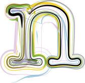 Organic Font illustration. Letter n — Stock vektor