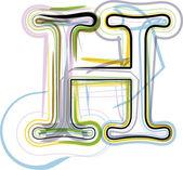 Organic Font illustration. Letter H — Stock Vector