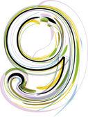 органические шрифта иллюстрации. номер 9 — Cтоковый вектор