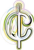 Ilustração de símbolo de cent fonte orgânica — Vetor de Stock