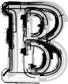 Grunge font. Letter B — Stockvektor