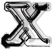 Grunge-Font. Buchstabe x — Stockvektor