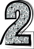 Diamond Font Number 2 — Stok Vektör