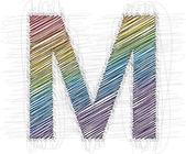 Mano dibujar font letra m — Vector de stock