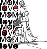 Amor de mãe — Vetor de Stock