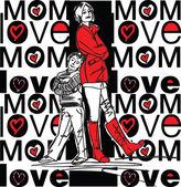 Mom love — Stock Vector