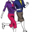 Sketch of couple marathon runners — Stock Vector #41711309