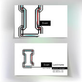 Business card design with letter I — 图库矢量图片