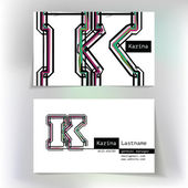 Business card design with letter K — 图库矢量图片