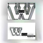 Business card design with letter W — Stok Vektör