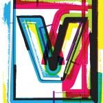 Colorful Grunge Font LETTER v — Stock Vector #47716551
