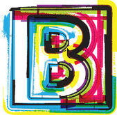 Colorful Grunge Font LETTER B — Stock Vector